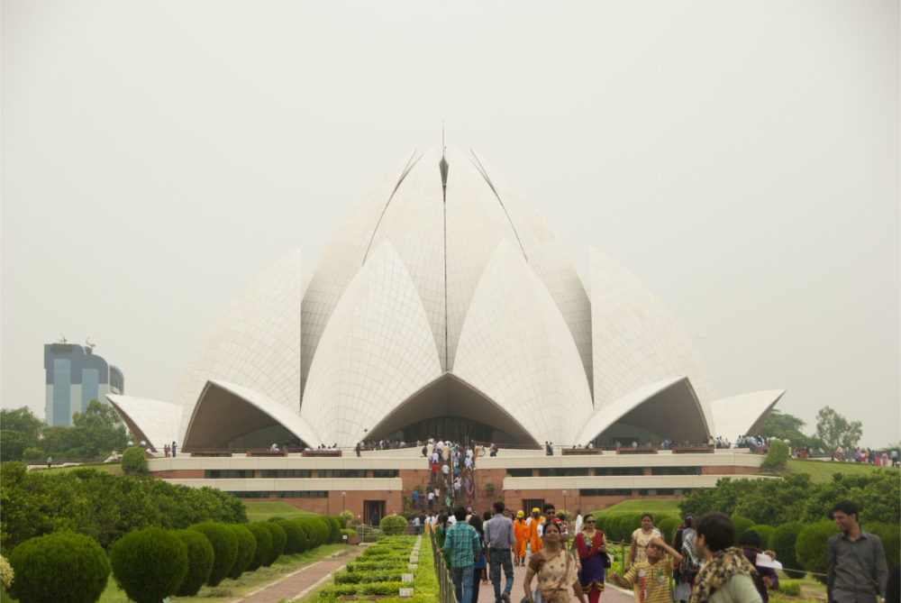 Walking up to the Bahai Lotus Temple