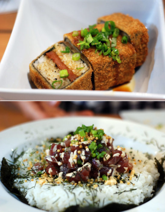 Healthy starts begin with deep fried spam musubi and end with poke bowls
