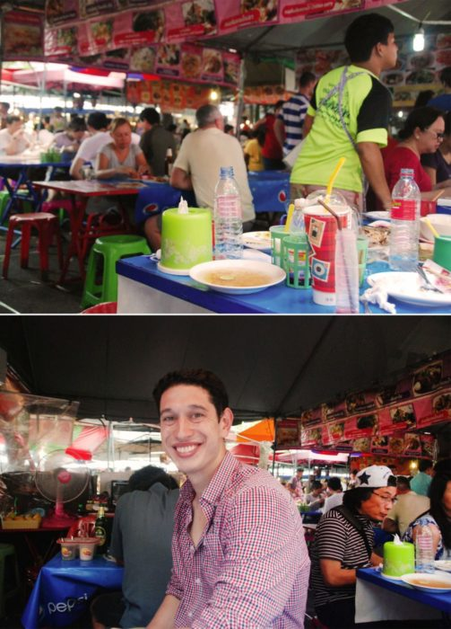 Ben amongst the market food stalls