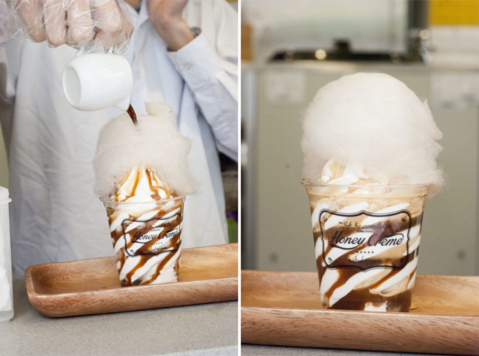 Delicious affogato soft serve with cotton candy.