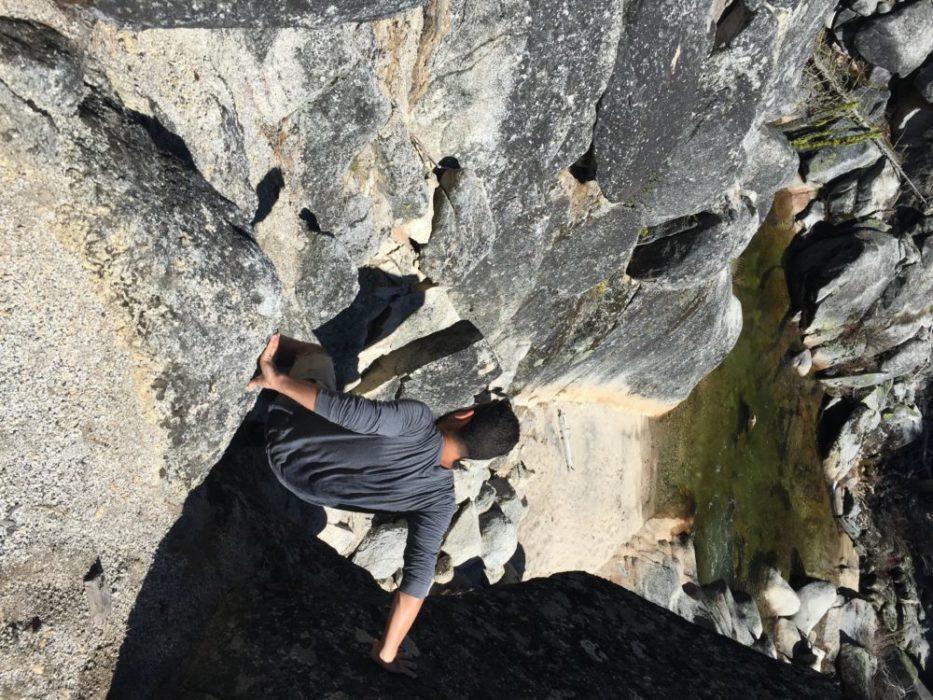 The climb down...