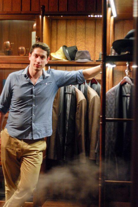 I made Ben pose in the smoking jacket closet