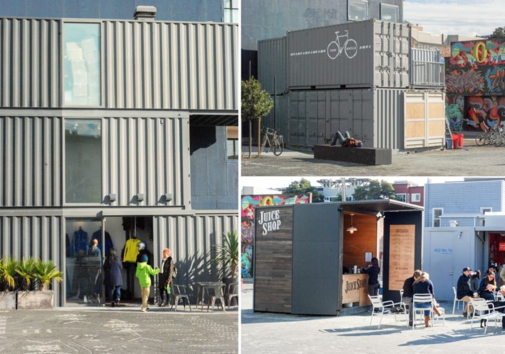 Back outside you'll see the shipping container style square that houses Aether an apparel store and Juice Shop. (you can also rent bikes)