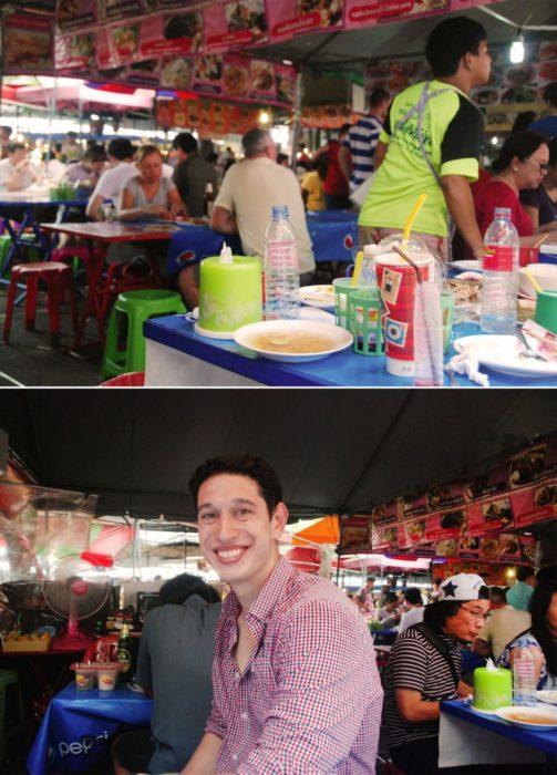 Ben amongst the market food stalls