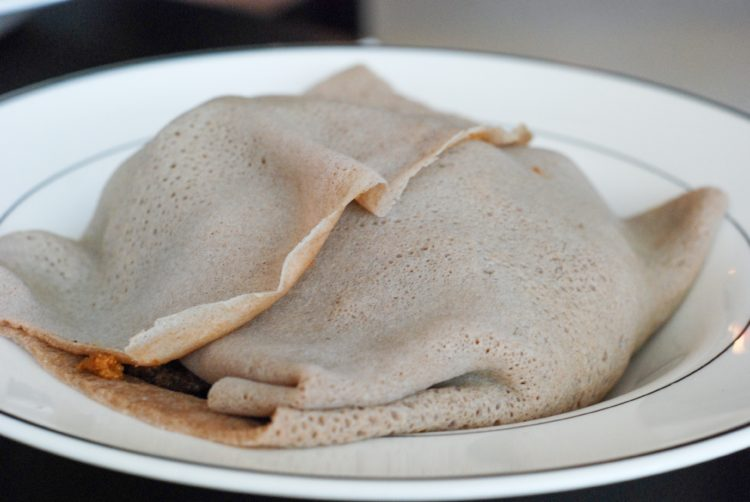 Ingera, the bread wrapped around Ben and David's delicious brunch (I'd say it tastes similar to a sourdough tortilla)