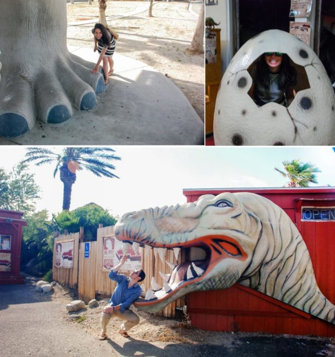 Before going inside I held hands with brontosaurus and Ben almost got eaten by a raptor