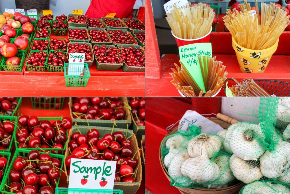 Lots of fresh fruit and garlic to choose from.