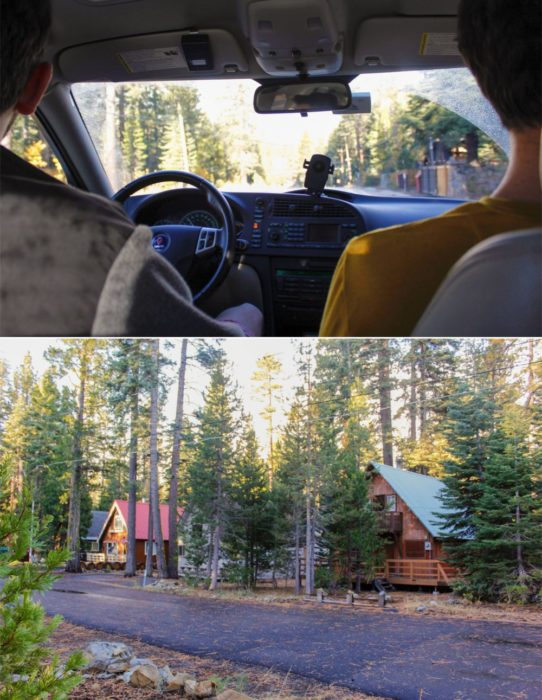 We drove into town, our street was lined with teeny cabins.